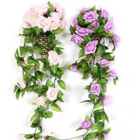 2 قطع الحرير الورود اللبلاب كرمة مع الأوراق الخضراء للمنزل الزفاف الديكور وهمية ليف diy شنقا جارلاند الاصطناعي الزهور