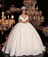 2020 luxe épaule paillettes perle perlée boule Goen robe de mariée Vintage Princesse train train plus la taille robe de mariée
