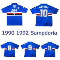 1990 1992 Sampdoria Retro Soccer Jersey 90 91 UC Sampdoria Vintage Classic Mancini Vialli Cerezo Attílio Lombardo Futebol Camisa