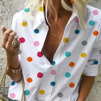 Vitiana Kadınlar Rahat Bluz Yaz 2019 Kadın Uzun Kollu Nokta Renkli Streetwear Bayan Üstleri Ve Bluzlar Bayanlar Artı Boyutu 5XL