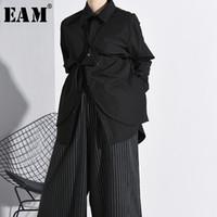 Женские блузки Рубашки [EAM] Женщины Черный Трехмерный разделительный Большой размер Блуза Отворачивается с длинным рукавом Свободная подходящая Рубашка Мода Весна Осень 2