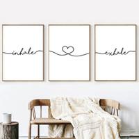 Inalar Expirar Citações Simples Cartaz Da Arte Da Parede Da Lona Minimalista Preto Branco Preto Pintura Da Lona Imagem Sala de estar Decoração Home Decor