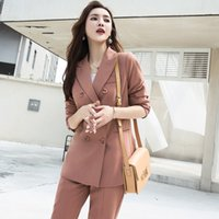 Fashion Elegant Work Business Pants Suits For Women Single B...
