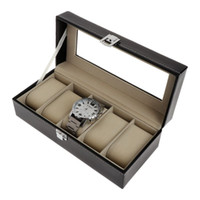 Watch Display Storage Case Boxes 5 Grids Luxury Faux Leather...