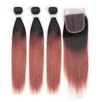 다크 어 번 옴브 인디언 인간의 머리카락 스트레이트 3Bundles 클로저 4 개 로트 # 1B / 33 구리 레드 옹 브르 4x4 레이스 클로저 위브 번들