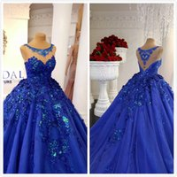 2019 Luxurious Royal Blue Arabic Evening Dresses Sheer Neck ...