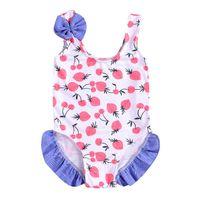 Bebek Kız Yay Mayo Yaz Kiraz Çilek Baskılı Ilmek Fırfır Çocuklar Spa Plaj Mayo Sevimli Çocuk Tek Parça Mayo Y2323