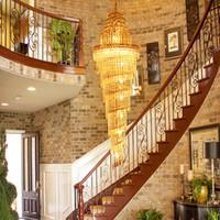الفاخرة الحديثة يتوهم كبير الثريا الكريستال الإضاءة الذهبية والثريات قلادة طويلة قلادة ضوء مصابيح الصمام لدرج ردهة الفندق فيلا