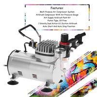 KKmoon 3 Kit aerografo con compressore d'aria Dual-Action Hobby Spray Brush Set Tattoo Nail Art Paint Pannelli Professional Pistole professionali