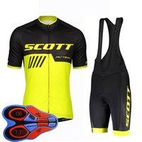 Equipo Scott verano ciclismo jersey traje transpirable rápido seco manga corta tops babero shorts conjunto hombres bicicleta deportes uniforme 32084