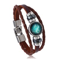 Twelve Constellations Leather Love Bracelet Personality Weav...