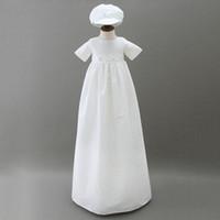 3 à 12 mois bébés filles longues robes de baptême, chapeau, vêtements en coton d'été, vêtements blancs, 2 am710DS-19