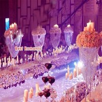 """80cm (31 """") لامعة بيضاوية الشكل كريستال أكريليك مطرز الزفاف المركزية زهرة الوقوف الجدول ديكور لحفل زفاف حدث الديكور"""