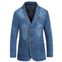 Yeni İlkbahar ve Sonbahar Erkek Denim Ceket İş Casual Pamuk Ceket Takım Elbise İnce Katı Renk Büyük Beden Erkek ceket
