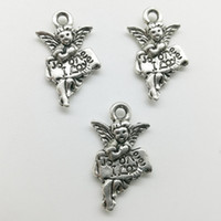 100 pçs / lote a um eu amo liga de anjo encantos pingente de jóias retro diy keychain antigo pingente de prata para pulseira brincos colar 19 * 11mm