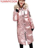 Femme's Down Parkas Yummycook Mode lâche Veste rembourrée à capuche en coton femelle Épaississement de la fourrure chaude Vêtements Coton A605