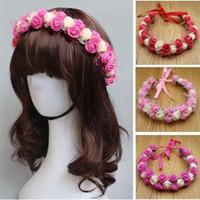 15pcs / 많은 유행 여자 헤어 액세서리 꽃 머리띠 PE 레이스 꽃 어린이 화환을 위해 신부 웨딩 모자 색상 선택