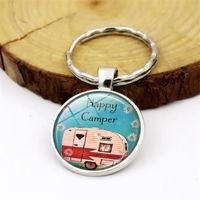2020 Happy Camper Cita llave clave Viaje del coche de cristal anillo de la cadena cabujón Cúpula joyería colgante de plata regalo de la manera metal llavero