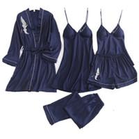 Daeyard de las mujeres pijamas de satén de 5 Piezas pijama desgaste de seda dormir Inicio bordado del sueño Salón encaje sexy ropa de dormir pijamas