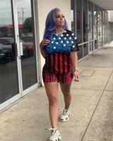 Американский Флаг США Женщины Tracksuit Звезды и Полосы Печать Тис тенниска + Шорты Комплекты Марка Спортивный костюм Две пьесы Наряды D61904