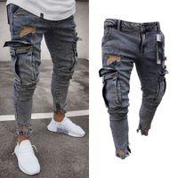 Yeni Moda Jeans Erkek Skinny Jeans Tahrip Yıpranmış Slim Fit Denim Cep Kalem Pantolon Boyut S-2XL Ripped Yıkanmış