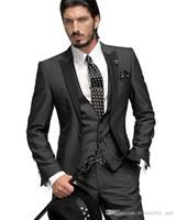 2017 Hot Sale! Сшитое One Button Groom Tuxedos Свадебный костюм для мужчин дружки костюм мальчиков костюм куртка + брюки + Tie + Vest Жених