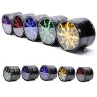 Forma iluminação Erva e especiarias 63 milímetros (2,5 polegadas) 4 Piece Grinder Com Limpar Top Janela Mutil colorido liga de alumínio Retail