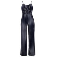 Bowknot Striped High Waist Polyester Wide Leg Women Jumpsuit...