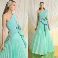 Nane Yeşil Bir Omuz Gelinlik Modelleri Dantelli Saten Ve Şifon Pileli Etek Abiye giyim Yan Bölünmüş Fermuar Geri Uzun Örgün Parti Elbise