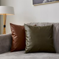 La imitación de cuero del sofá Cojín color sólido funda de almohada Funda de almohada de coches de alta calidad de la cremallera de la funda de almohada Breve decoración del hogar antes de Cristo VT0891