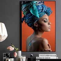 1 Pcs African Woman Headband Portrait Nordic Canvas Painting...