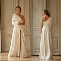 Liz Martinez 2020 New Dividir vestidos de casamento simples de um ombro manga comprida Praia Boho A Linha de cetim vestidos de noiva Vestido de Novia