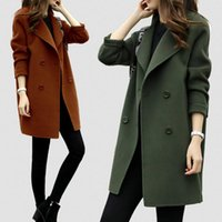 Women Wool Blend Warm Long Coat Plus Size Female Slim Fit La...