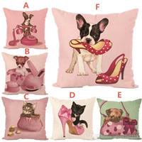 New Cushion Cover Hot Cotton Linen Pillow Cover Animal Pink ...