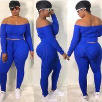 Artı Boyut Moda Kadın Seksi 2 adet Kapalı Omuz Uzun Kollu Üst ve Uzun Pantolon BODYCON Jumpsuit Skinny Romper kırpma