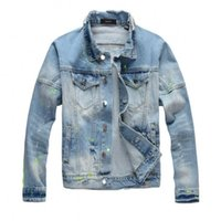 2020 New motorcycle Stripe printing denim jacket high fashio...