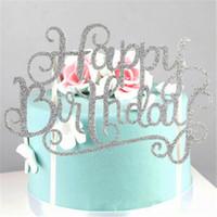 Vier-Farben-Kristall Strass Shiny Happy Birthday Cake Topper Jahrestag Kindergeburtstag-Party-Dekor-Kuchen-Deckel