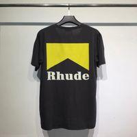 Erkek Tasarımcı T Gömlek Erkek Kadın Streetwear Rahat Yüksek Sokak Tshirt Pamuk Çift En Tees Rhude T-Shirt