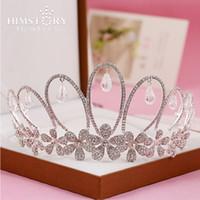 Himstory Нежные свадебные диадемы Crown Невесты Головные уборы девушки падения Подвесной Tiara Корона ободки цветок диадема Accessorie волос