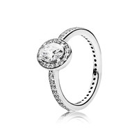 925 Sterling Silver Women Ring Sparkling Clear CZ Geometric ...