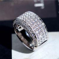 Сверкающие роскошные ювелирные изделия бесконечный драгоценный камень 925 стерлингового серебра Pave White Topaz CZ Diamond 18K белое позолоченное кольцо свадьбы для мужчин подарок