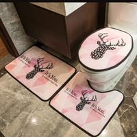 Patrón de ciervos Cubiertas de asiento de inodoro Conjuntos de puertas interiores Mats U Mats Trajes ecológicos Accesorios de baño ecológicos Casual debe