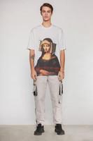 T-shirt a maniche corte T-shirt retrò personalità europea e americana moda Mona Lisa solitaria tendenza di stampa insopportabile maschio WGTX14