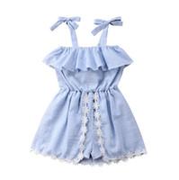 2020 estate delle neonate hanno barrato il vestito senza maniche in pizzo Pantskirt pagliaccetto abiti sui bicchierini del fiore di Bowknot delle tute principessa Dress 3 pz E22601