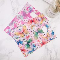 100pcs 15x20cm Colorful Butterfly Plastic Gift Bag With Hand...