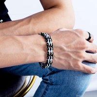 Regalo di giorno catena del motociclista della bicicletta del motociclo del braccialetto di punk del Mens del braccialetto di collegamento dell'acciaio inossidabile Uomini Bracciali roccia dei monili del braccialetto di San Valentino