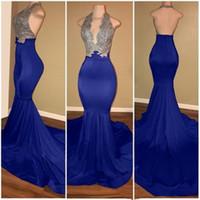 Royal Blue Red African Mermaid Prom Dresses Lange Spitze vor Schulter durch Sweep Train Formale Abendparty Formale Kleider Kleider P048