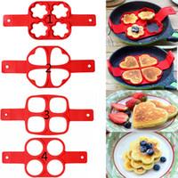 Antiadhésif Pancake Maker Oeuf Anneau Maker 4 Trous Silicone Pancake Moule Frying Egg Moule DIY Carré Coeur Cercle Fleur Cuisine Outils