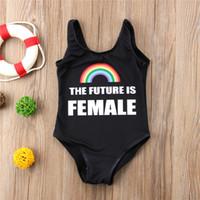 뜨거운 판매! 귀여운 아기 여자 수영복 원피스 만화 레인보우 문자 패턴 여자 수영복 키즈 어린이 블랙 수영 비치웨어