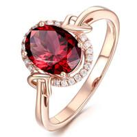 R436 Kadınlar Için Yeni Moda GÜL Altın Yüzük Tam Zirkon kırmızı Opal Yüzük Düğün Hediyeleri kadın